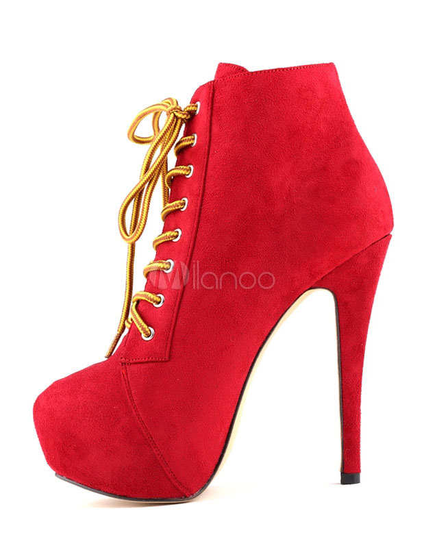 Suede Sexy Booties Platform High Heel Red Ankle Boots Women's Lace ...