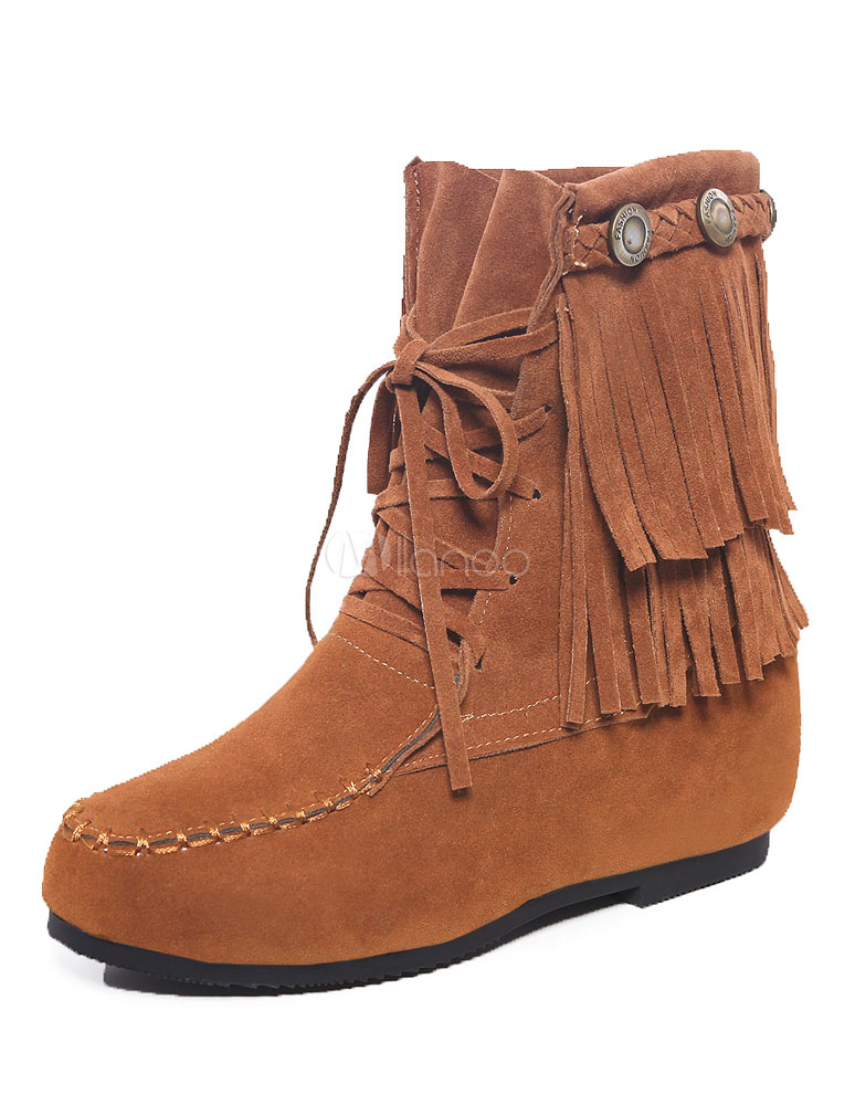 Buy Boho Ankle Boots Fringe Suede Wedge Booties Women's Round Toe Lace Up Winter Boots for $31.34 in Milanoo store