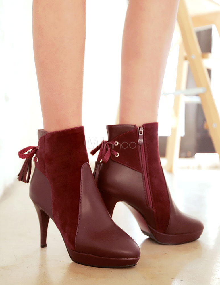 9c172a0d6633 ... Black Ankle Boots High Heel Women s Short Suede Patchwork Pointed Heel  Booties-No.7