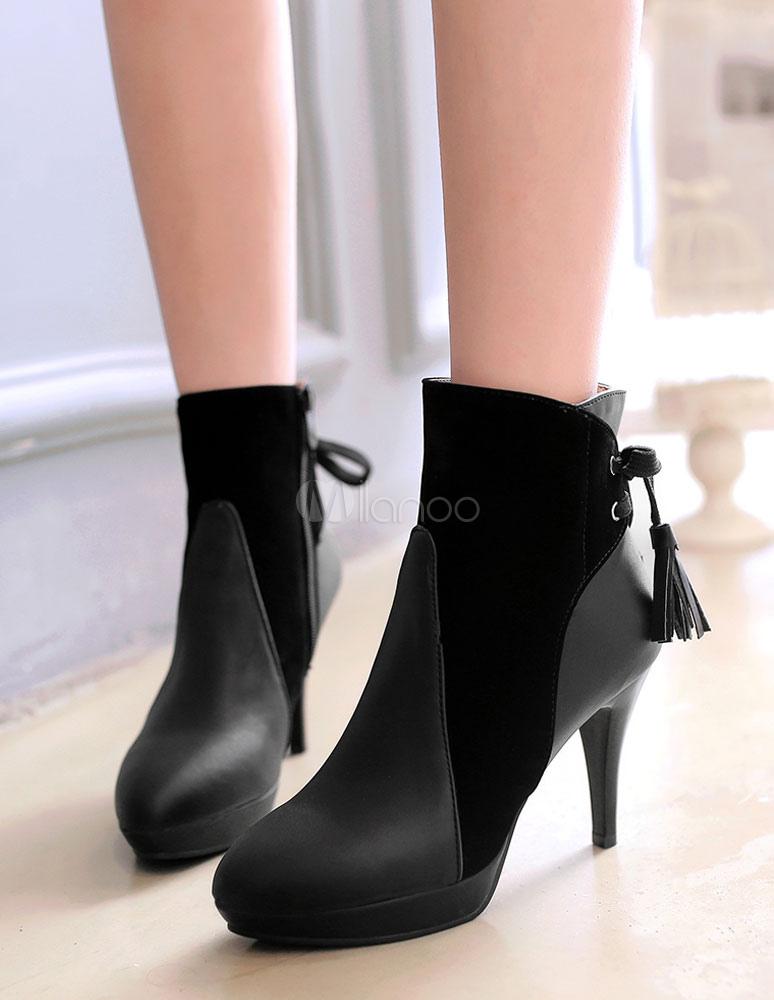 619d7d493e19 ... Black Ankle Boots High Heel Women s Short Suede Patchwork Pointed Heel  Booties-No. ...