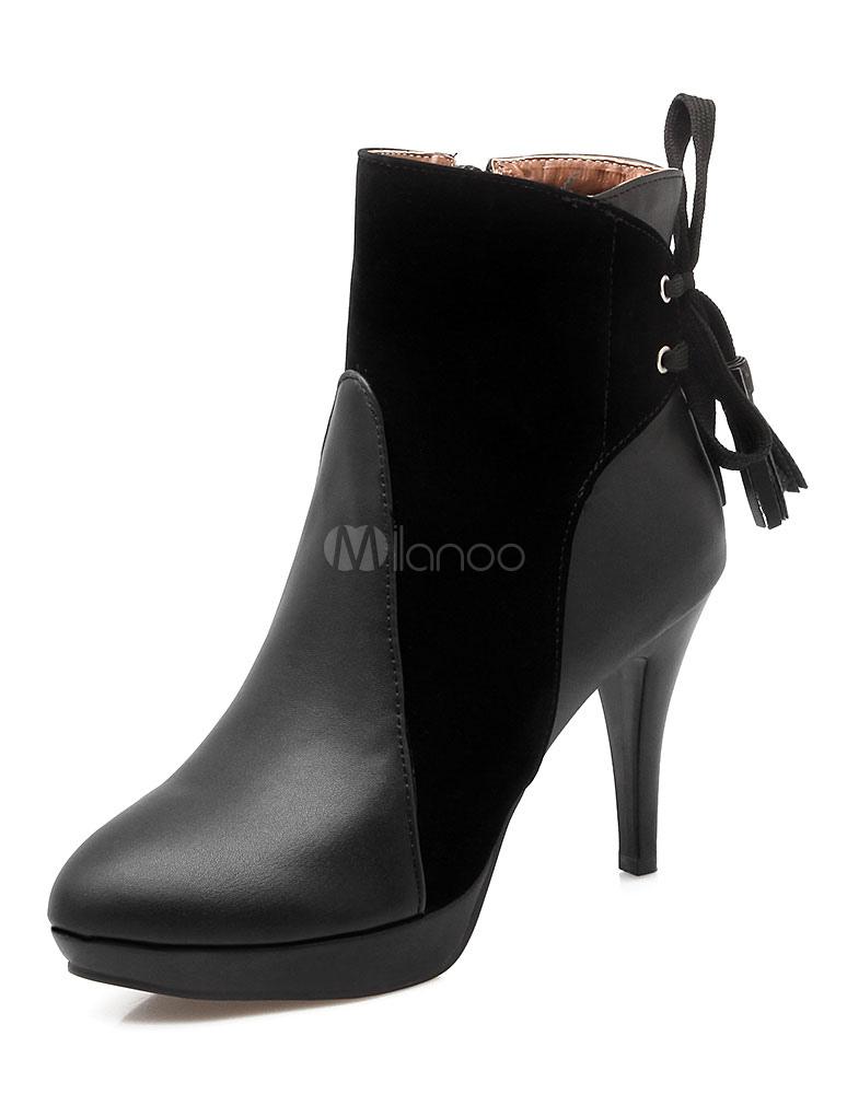 5c79d7fff9df Black Ankle Boots High Heel Women s Short Suede Patchwork Pointed Heel  Booties-No. ...