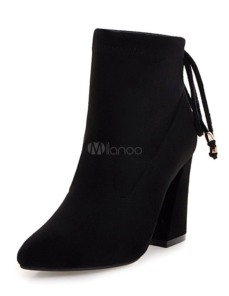 ce9013ee45ea Black Suede Booties Chunky Heel Women s Pointed Bow Tie Short Boots-No. ...