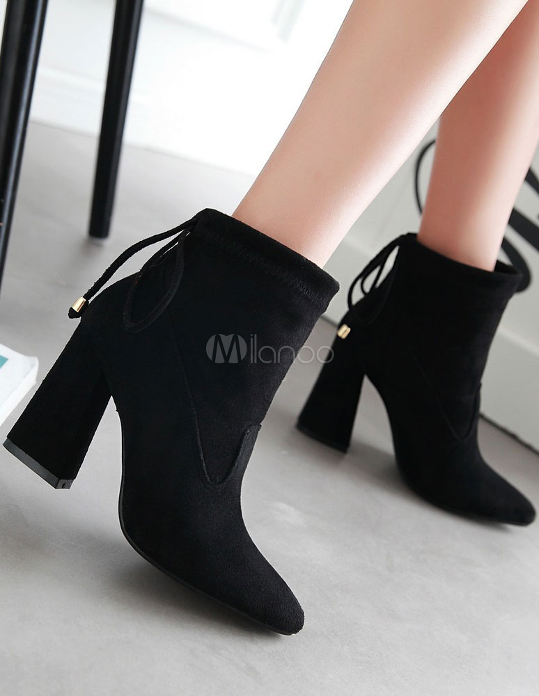 70df82265aa0 ... Black Suede Booties Chunky Heel Women s Pointed Bow Tie Short Boots-No.  ...