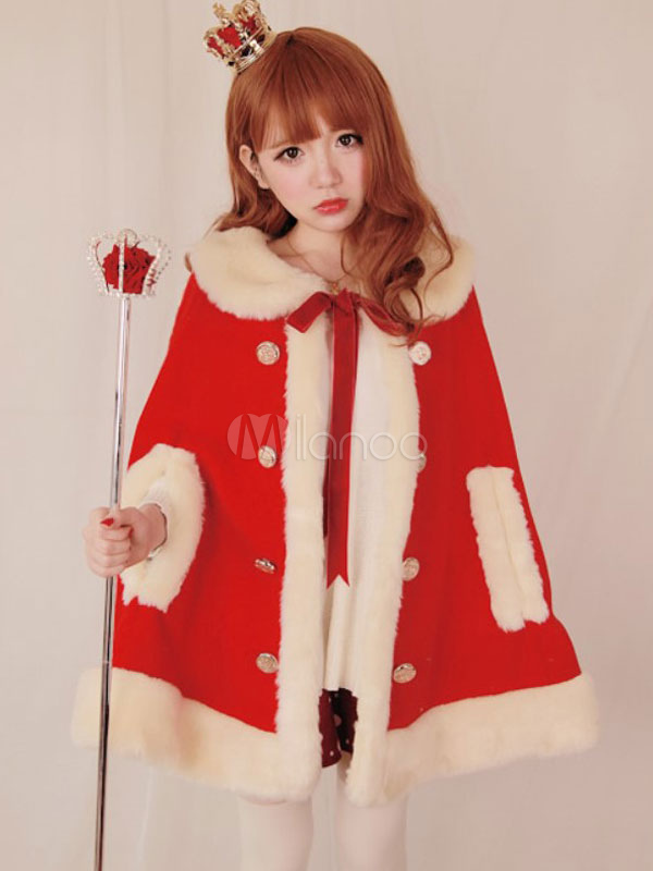 Buy Sweet Lolita Cape Coat Wool Faux Fur Tie Collar Luxurious Poncho Lolita Coat For Winter for $51.99 in Milanoo store