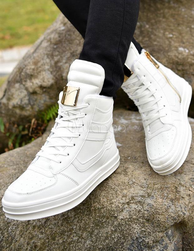 Weiße High Top Sneaker Herren Freizeitschuhe Lace Up Runde Spitze Metalldetails Sportschuhe