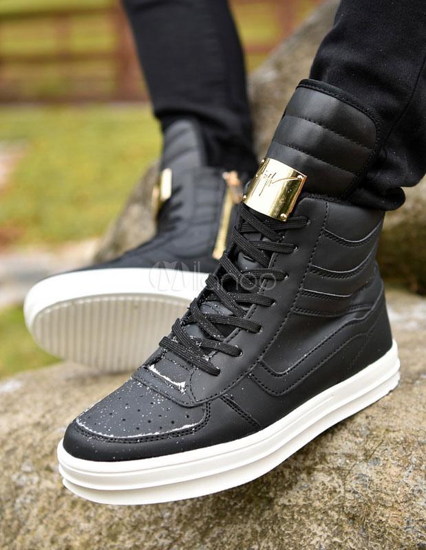 wei e high top sneaker herren freizeitschuhe lace up runde. Black Bedroom Furniture Sets. Home Design Ideas
