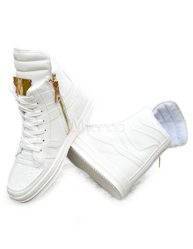 wei e high top sneaker herren freizeitschuhe lace up runde spitze metalldetails sportschuhe. Black Bedroom Furniture Sets. Home Design Ideas
