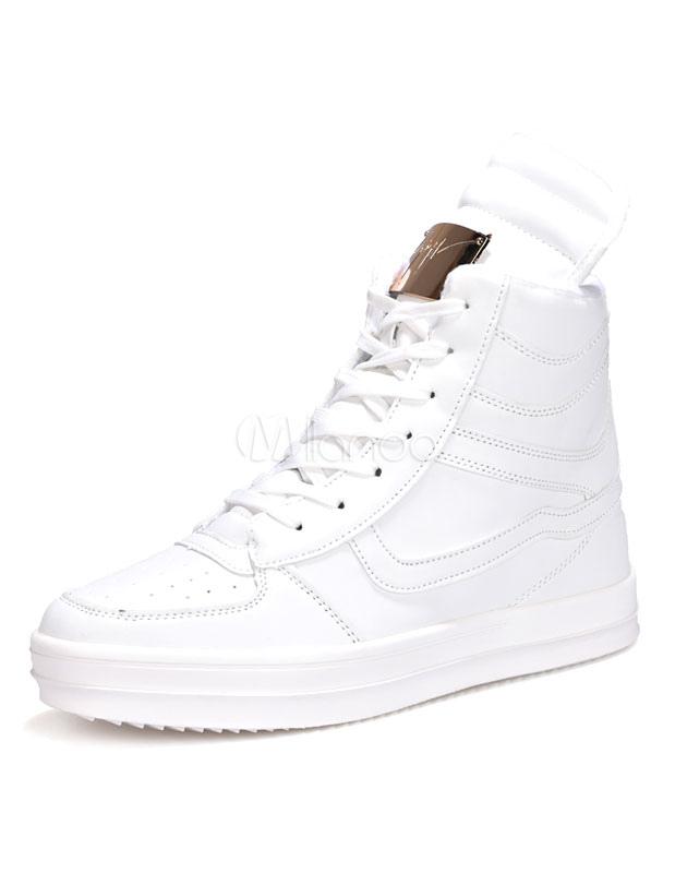 Weiße Freizeitschuhe Herren Runde Spitze Metalldetails Lace Top Up High Sneaker Sportschuhe OiXuPkZT