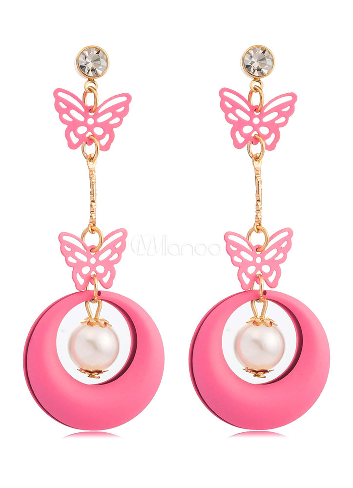 Buy Butterfly Drop Earrings Pearls Circle Stud Dangle Earrings In Pink for $2.54 in Milanoo store