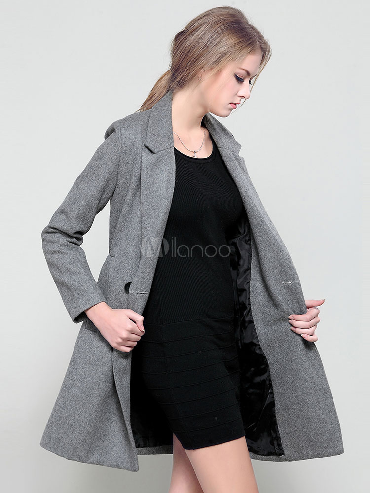 Grey Pea Coat Notch Collar Long Sleeve Double Breasted Slim Fit Wool Outerwear For Women