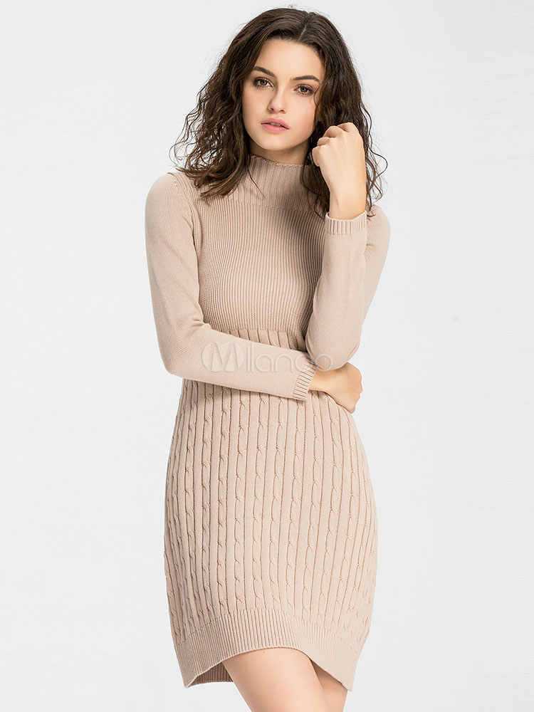 Apricot Sweater Dress Long Sleeve Knee Length High Collar Cable Knit Dress For Women Cheap clothes, free shipping worldwide