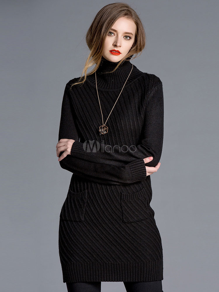 Buy Black Sweater Dress High Collar Bodycon Cable Knit Dress For Women for $42.87 in Milanoo store