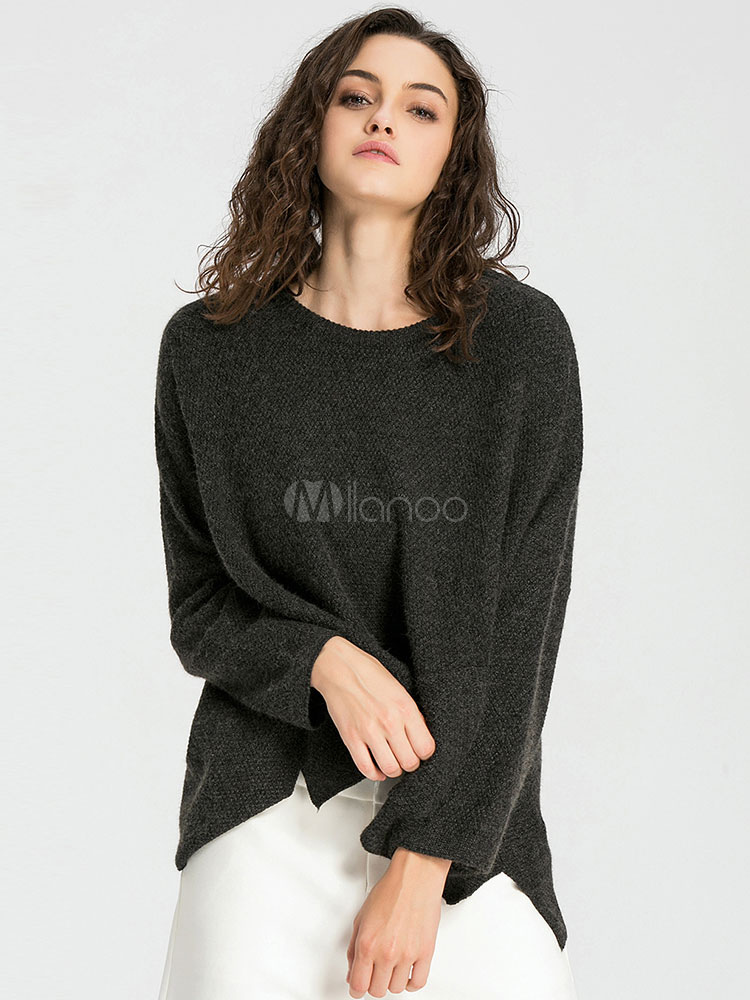 charmant pull femme moderne vert fonc tricot fendu v tements journaliers manches longues. Black Bedroom Furniture Sets. Home Design Ideas