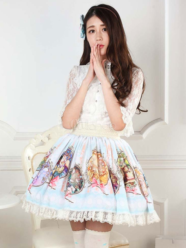 Buy Sweet Lolita Dress SK Light Blue Constellation Patron Saint Printed Pleated Lace Hem Lolita Skirt for $48.75 in Milanoo store