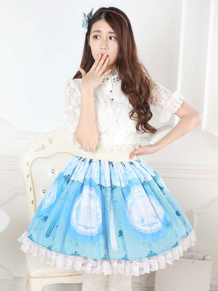 Buy Sweet Lolita Dress SK Light Blue Printed Pleated Ruffle Lace Lolita Skirt for $52.19 in Milanoo store