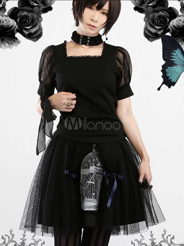 Buy Gothic Lolita Dress SK Black Cotton Printed Lace Lolita Skirt With Bow for $74.09 in Milanoo store