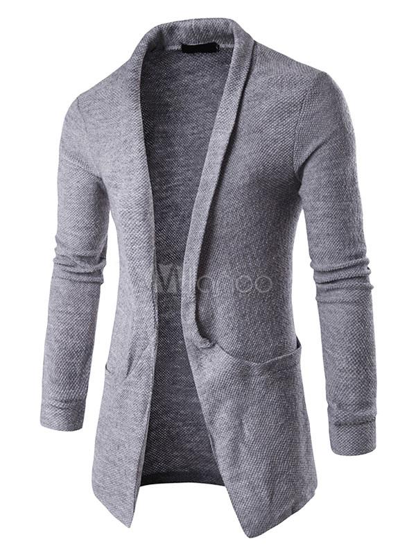 ... Cappotto da uomo Maglia Cardigan nero manica lunga Cardigan Casual  Fit-No.3 ... c58ac1d8a0b