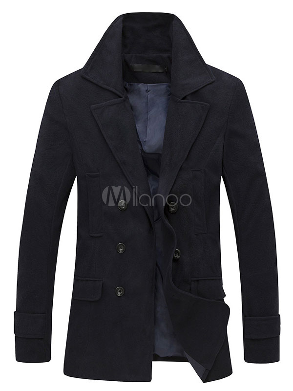 Men's Trench Coat Black Double Breasted Cuff Strap Long Sleeve Casual Pea Coat For Winter
