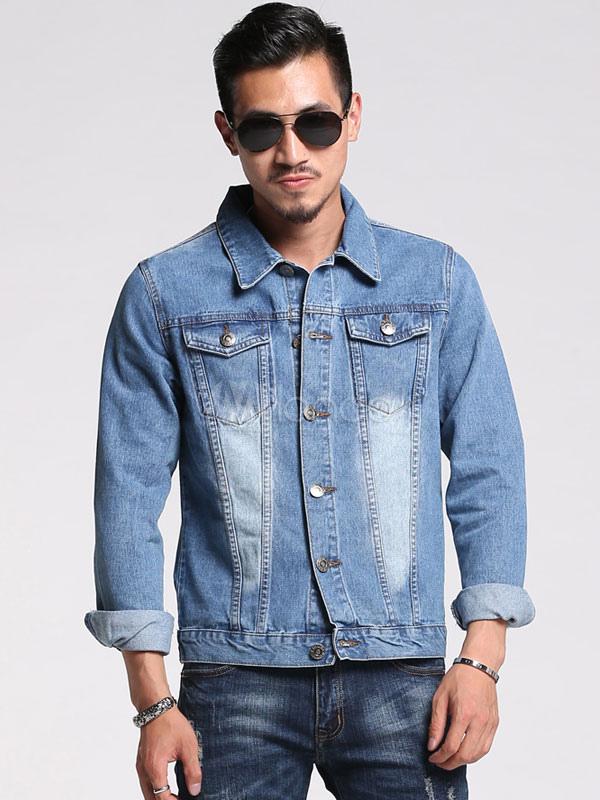 Buy Men's Winter Jacket Light Blue Turndown Collar Long Sleeve Slim Fit Denim Jacket for $36.99 in Milanoo store