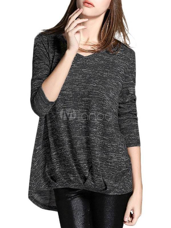 Long Sleeve T-Shirt Black V Neck Long Sleeve High Low Pleated Cotton T-Shirt For Women