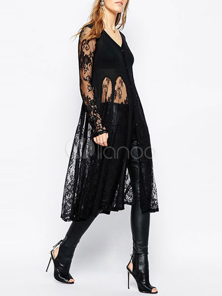 Lace Black Cardigan Long V-neck Women's Semi-Sheer Patchwork Sweater Cardigan Cheap clothes, free shipping worldwide
