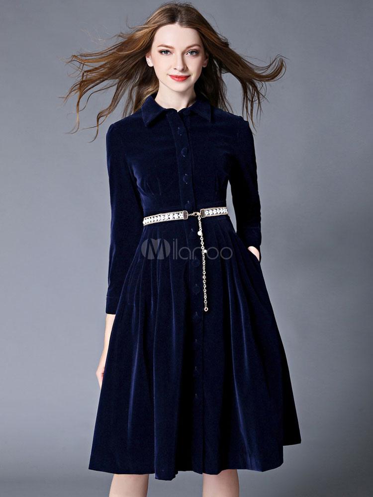 6eff7d6d22522 Blue Winter Dress Flannel Turndown Collar Long Sleeve Slim Fit Pleated  Skater Dress For Women- ...