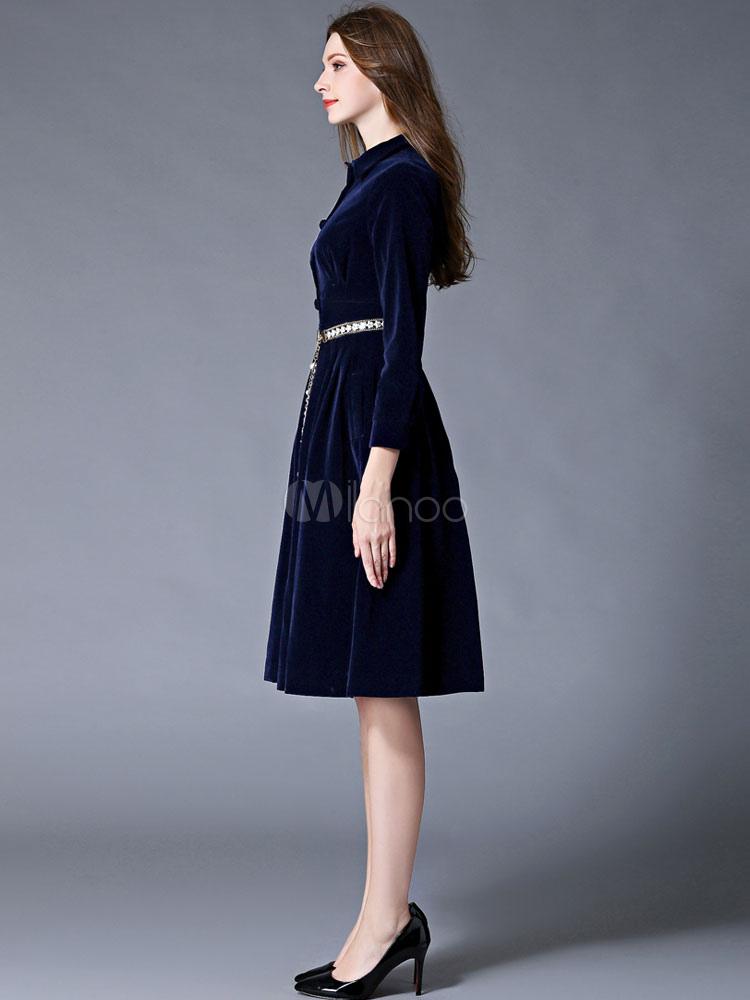 7c1e06375900f ... Blue Winter Dress Flannel Turndown Collar Long Sleeve Slim Fit Pleated  Skater Dress For Women- ...