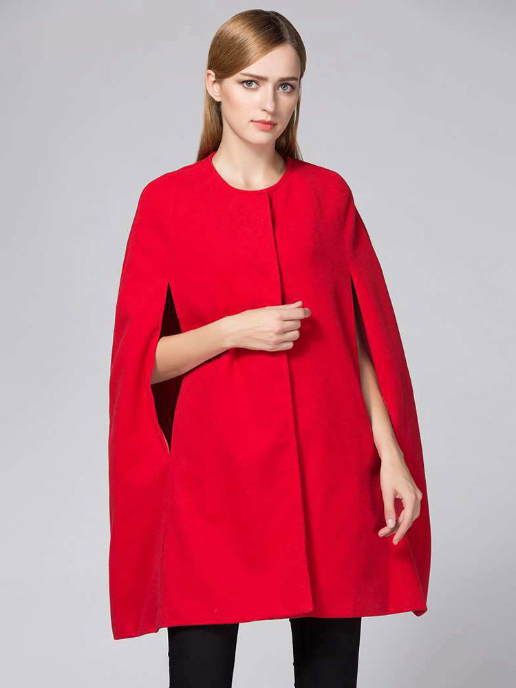 Women Red Poncho Button Woolen Cape Winter Coat
