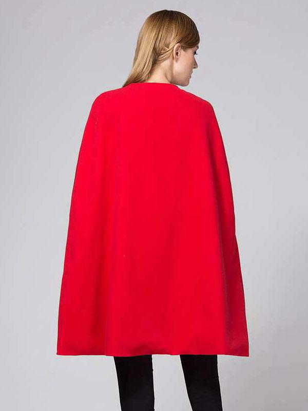 Poncho cape femme poncho rouge manteau d hiver sans manches manteau cape - Cape femme hiver ...