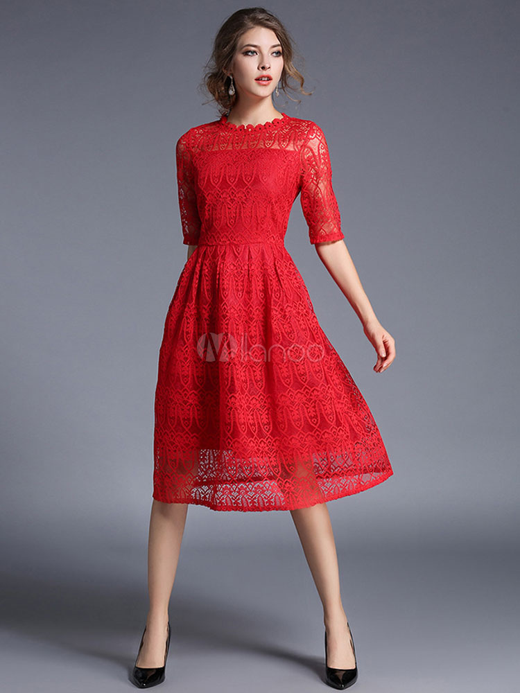 Red Lace Dress Vintage Style Half Sleeve Illusion A Line Skater Dress For Women Cheap clothes, free shipping worldwide