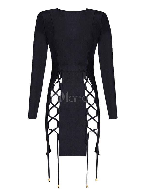 Black Party Dress Round Neck Long Sleeve Criss Cross Cut Out Drawstring Bodycon Dress For Women Cheap clothes, free shipping worldwide