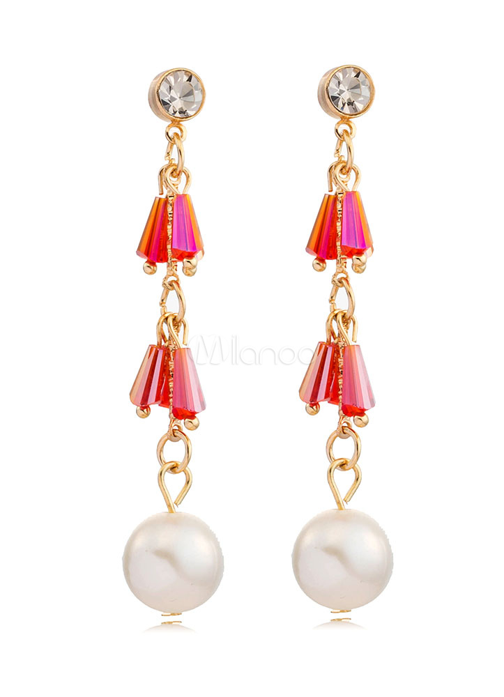 Buy Pearls Pendant Earrings Pierced Chain Long Drop Earrings for $2.54 in Milanoo store