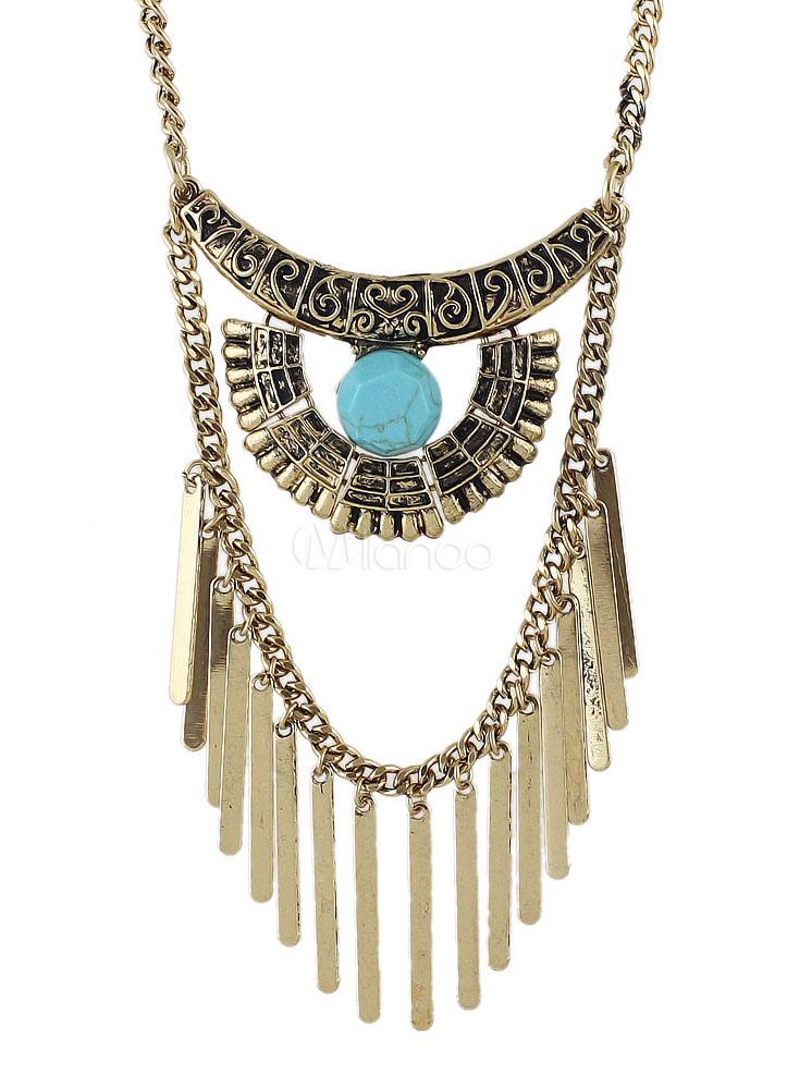 Women's Boho Necklace Alloy Gold Fringe Statement Necklace