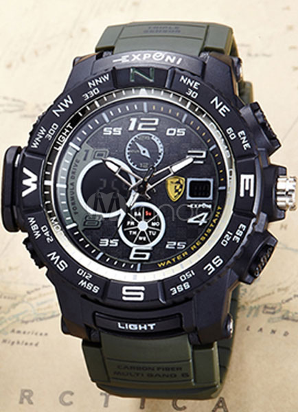 Buy Led Sport Watch Analog Digital Chronograph LCD Date Waterproof Rubber Strap Wrist Watch for $14.99 in Milanoo store