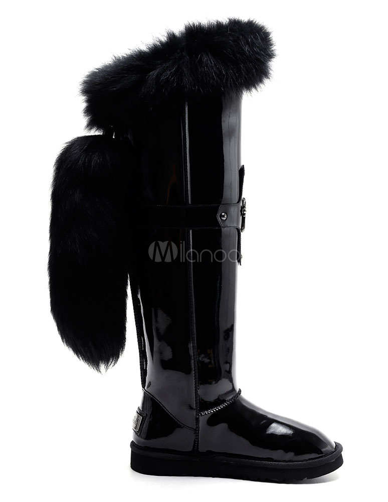 a8aaa7143307 ... Black Snow Boots Knee High Women s Flat Fur Lined Crucifix Buckled Warm  Winter Boots- ...