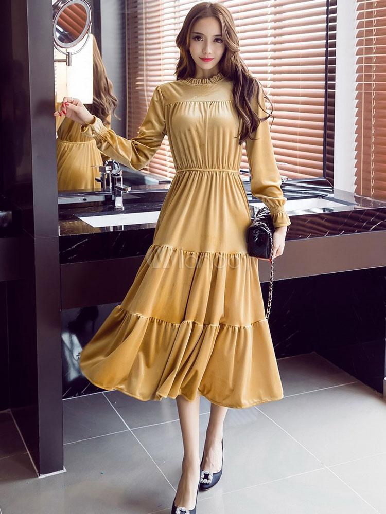 Yellow Long Dress Korean Velvet Ruffled Stand Collar Long