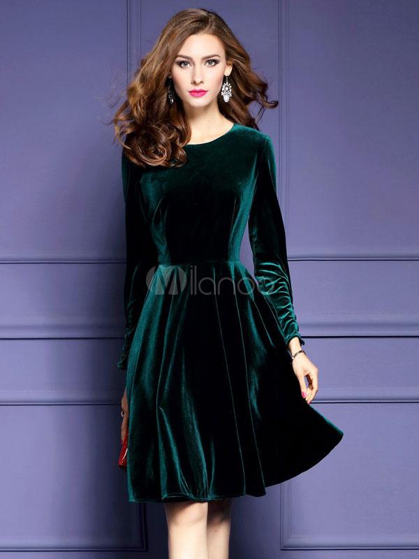 new product 8a5d3 88284 Girocollo manica lunga donna velluto abito Skater plissettato abito svasato  per l'inverno