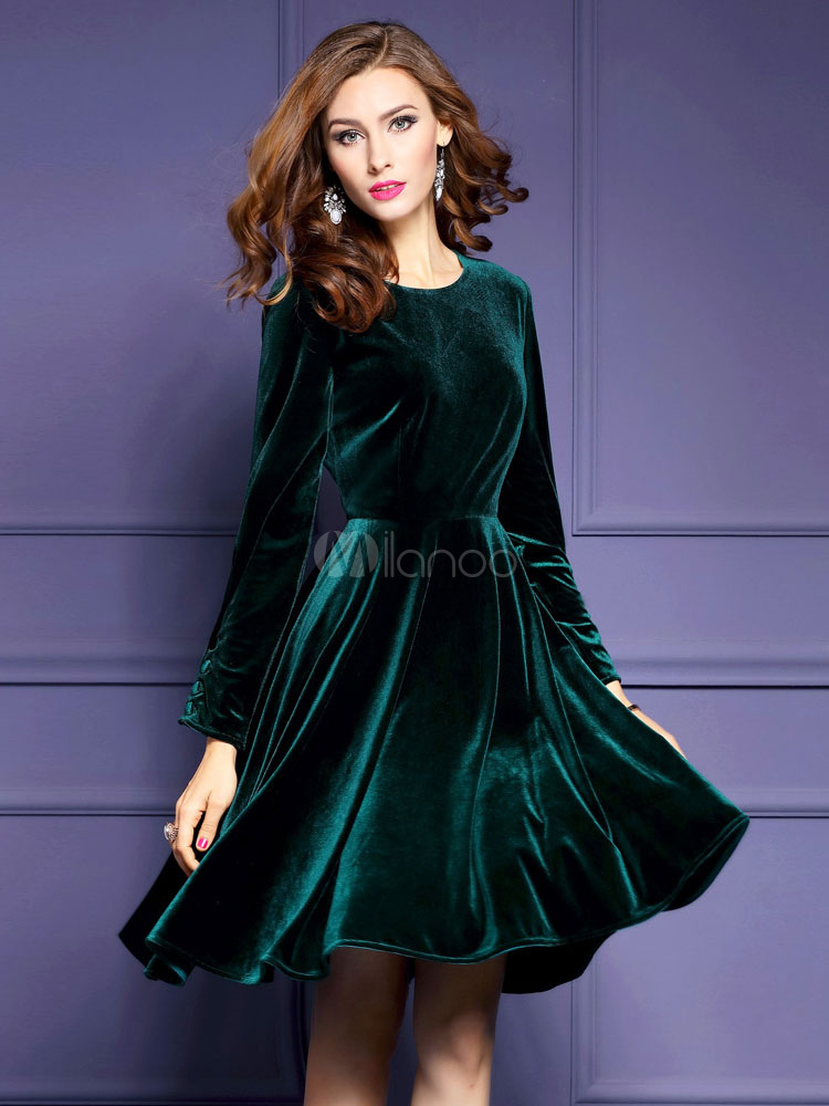 new product e1afe 39cfb Girocollo manica lunga donna velluto abito Skater plissettato abito svasato  per l'inverno