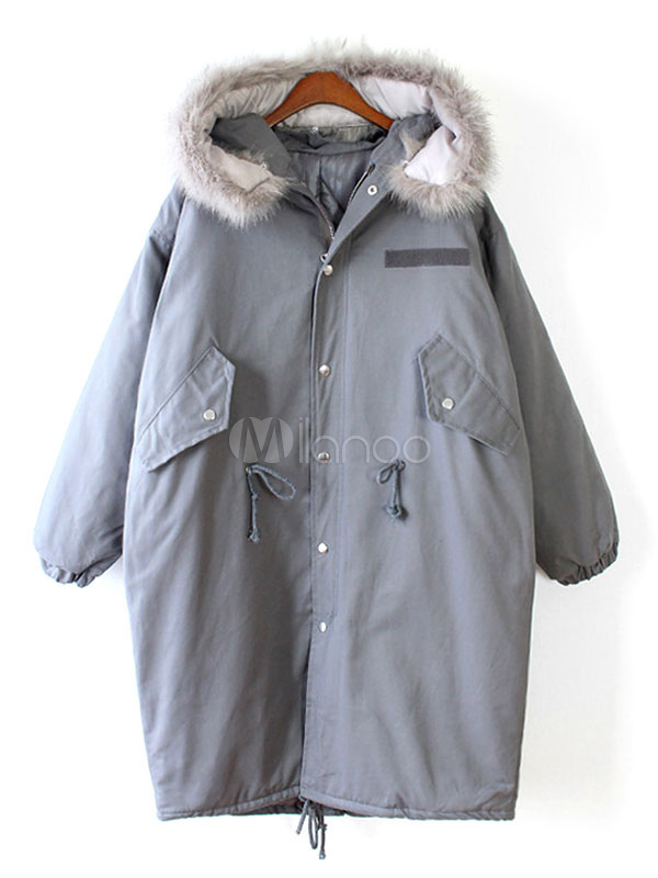 new product b12f2 a3c77 Grey Women's Parka Faux Fur Hooded Drawstring Waist Oversize Cocoon Coat  For Winter