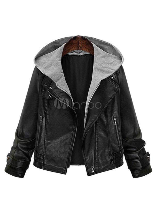 best sneakers 2503b d8c79 Giacca di pelle nera con cappuccio cappotto invernale manica lunga giacca  corta donna zip tinta unita