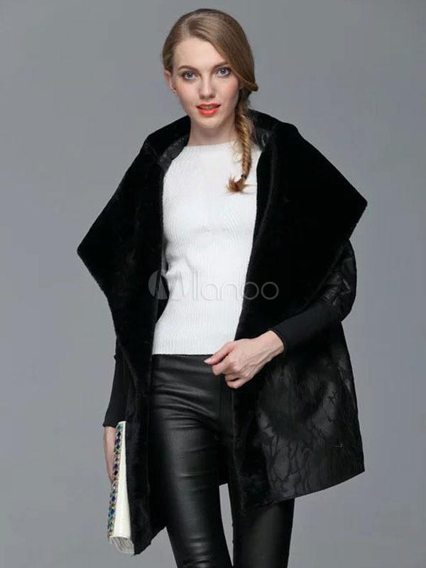 Black Winter Coat Hooded Faux Fur Collar Long Sleeve Plus Size Coat For Women