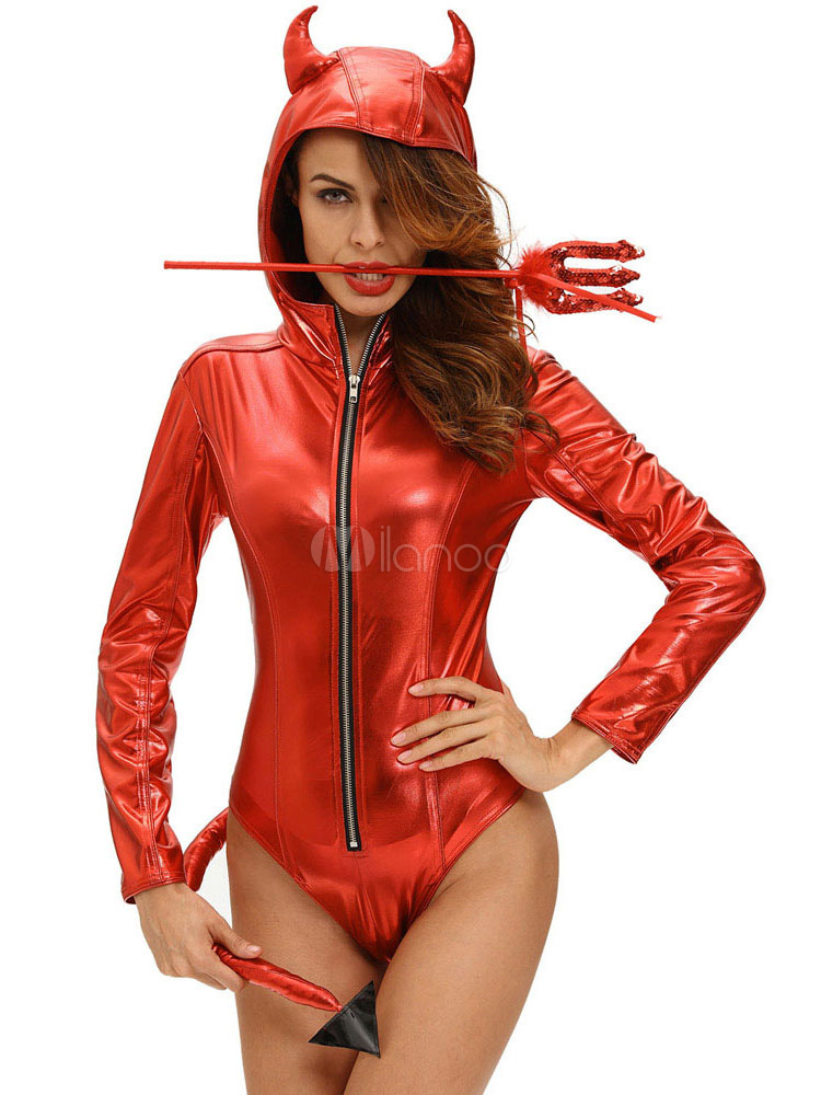 Buy Halloween Demon Costume Red Sexy Women's Long Sleeve Zip Up Hooded Bodysuit With Wand Halloween for $25.75 in Milanoo store