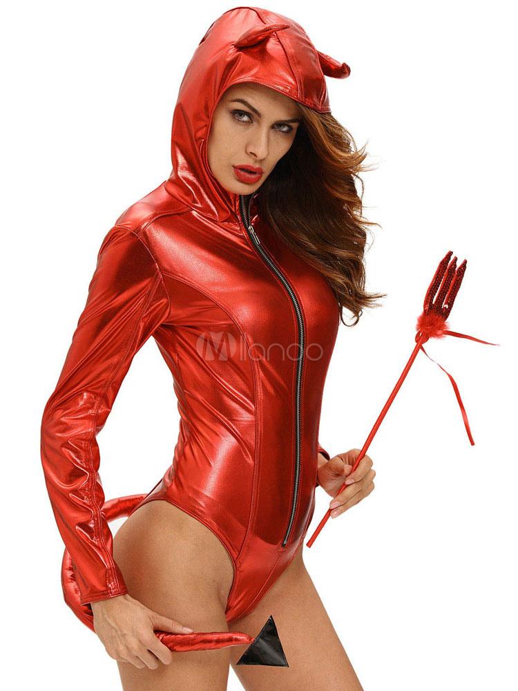 halloween demon costume red sexy women 39 s long sleeve zip. Black Bedroom Furniture Sets. Home Design Ideas