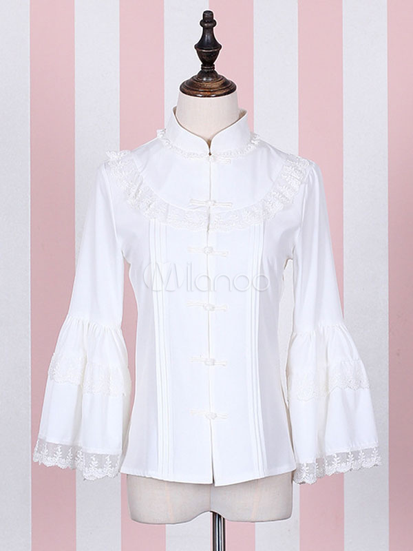e56b37ab1e8 Vintage Lolita Blouse Chiffon Stand Collar Chinese Frog Lace Bell Long  Sleeve Slim Fit Lolita Blouse ...