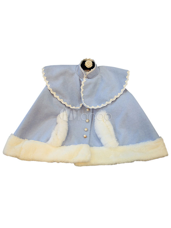 Buy Sweet Lolita Cape Coat Wool Fur Trim High Collar Buttons Blue Chinoiserie Lolita Coat for $76.99 in Milanoo store