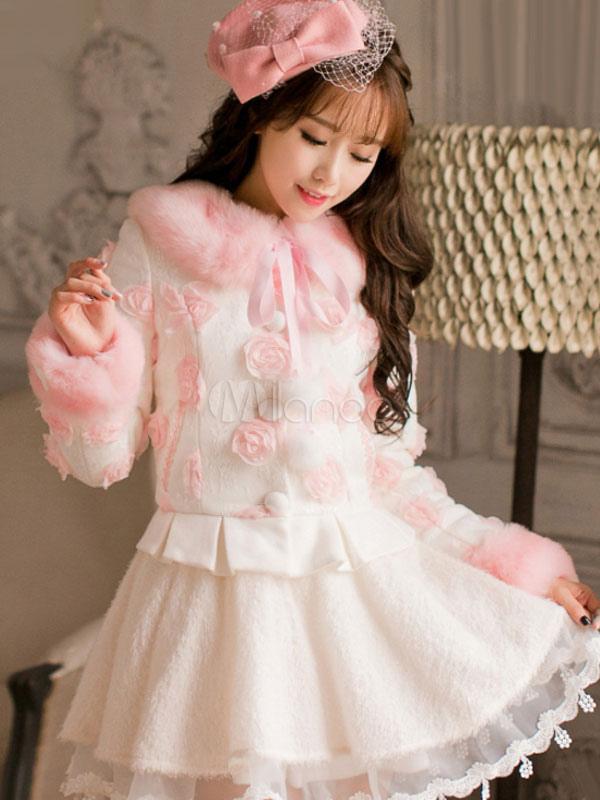 Buy Pink Lolita Coat Swirled Rosette Kawaii Short Lolita Coat Fur Collar Bows Long Sleeve Two Tone Sweet Lolita Overcoat for $141.29 in Milanoo store