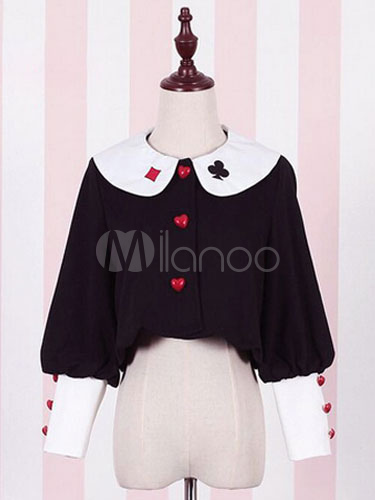 Buy Sweet Lolita Coat Alice Costume Long Sleeve Poker Print Cotton Lolita Overcoat With Buttons for $23.91 in Milanoo store
