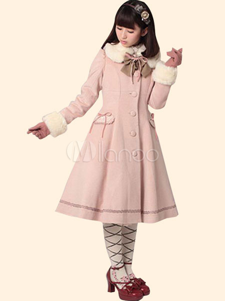 Buy Sweet Lolita Coat Pink Wool Fur Collar A Line Bow Button Long Sleeve Lolita Overcoat for $168.29 in Milanoo store