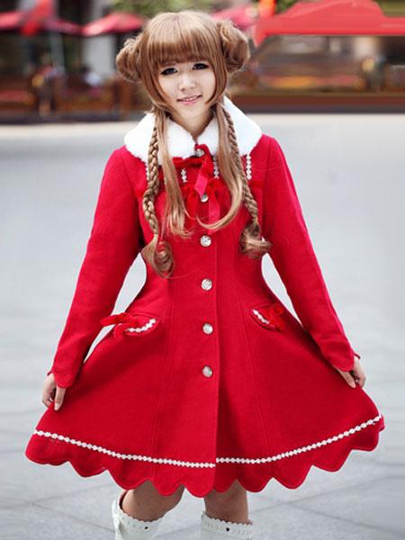 Buy Red Lolita Coat Cashmere Flare Sweet Lolita Overcoat Fur Collar Long Sleeve Lace Up Winter Lolita Coat for $128.79 in Milanoo store