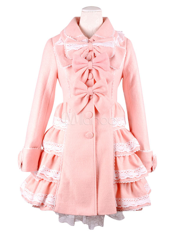 Buy Sweet Lolita Coat Princess Lace Trim Cashmere Lolita Overcoat Tiered Bows Long Sleeve Pink Winter Lolita Outwear for $152.09 in Milanoo store